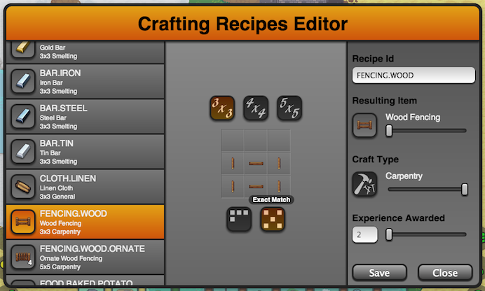 The Crafting Recipe Editor