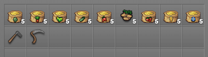 Inventory Showing Farming Related Items