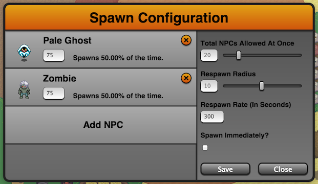 The Spawn Configuration Dialog